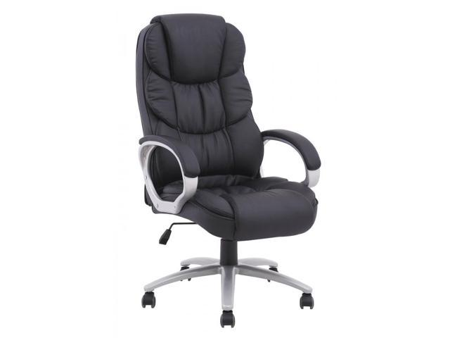 Beau BestMassage High Back Leather Executive Office Desk Task Computer Chair  W/Metal Base   Black