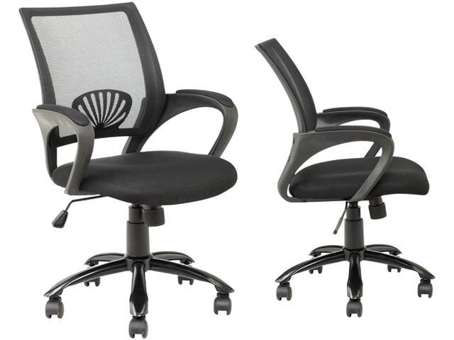black ergonomic mesh computer office desk task chair w metal base