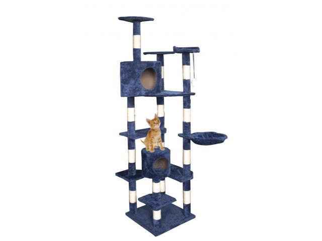 Cat Tree 80 Navy Blue Condo Furniture Scratching Post Pet Kitten House