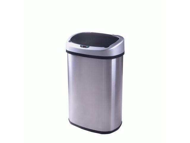 13-Gallon Touch-Free Sensor Automatic Stainless-Steel Trash Can 50R