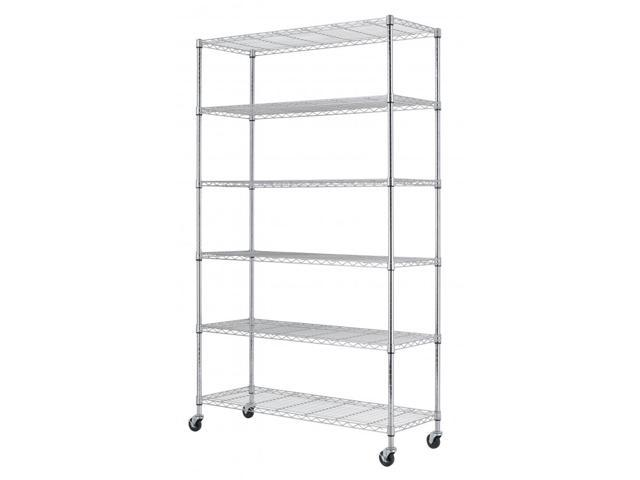 BestMage 6-Shelf Commercial Steel Wire Shelving Rack WS-776-Chrome on