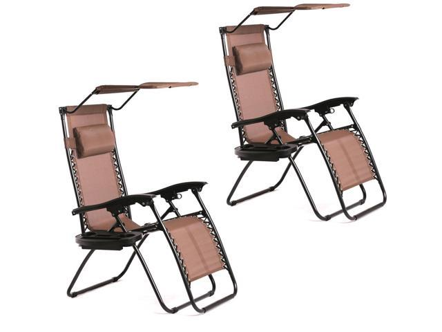 New 2 PCS Brown Zero Gravity Chair Lounge Patio Chairs With Canopy Cup  Holder H074