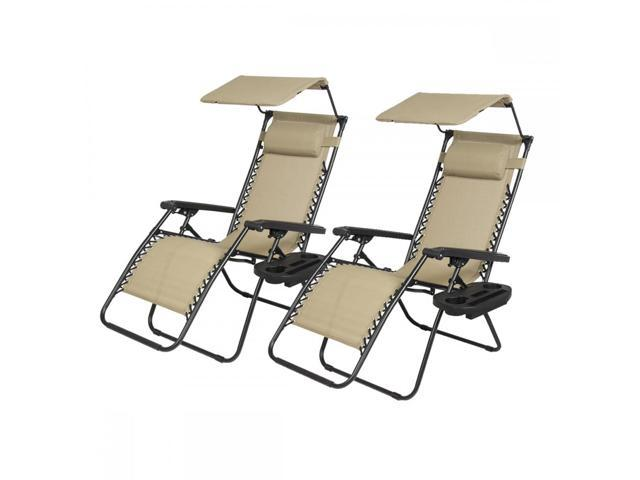 New 2 Pcs Tan Zero Gravity Chair Lounge Patio Chairs With Canopy Cup Holder H074
