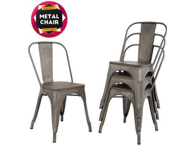 Strange Dining Chairs Set Of 4 Indoor Outdoor Chairs Patio Chairs Furniture Kitchen Metal Chairs 18 Inch Seat Height 330Lbs Weight Capacity Restaurant Chair Home Interior And Landscaping Eliaenasavecom