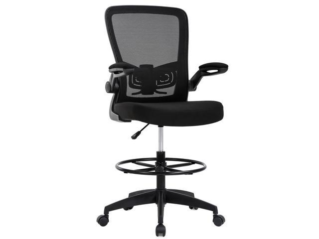 Drafting Chair Tall Office Chair Adjustable Height With Lumbar Support Flip Up Arms Footrest Mid Back Task Mesh Desk Chair Computer Chair Drafting