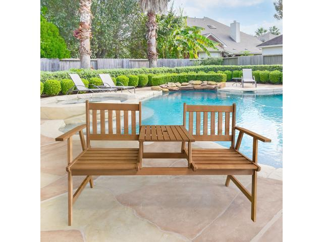 Magnificent Outdoor Furniture Patio Tete A Tete Garden Bench Chair Patio Conversation Sets Outdoor Patio Loveseat Set Solid Eucalyptus Wood With Umbrella Hole Ocoug Best Dining Table And Chair Ideas Images Ocougorg
