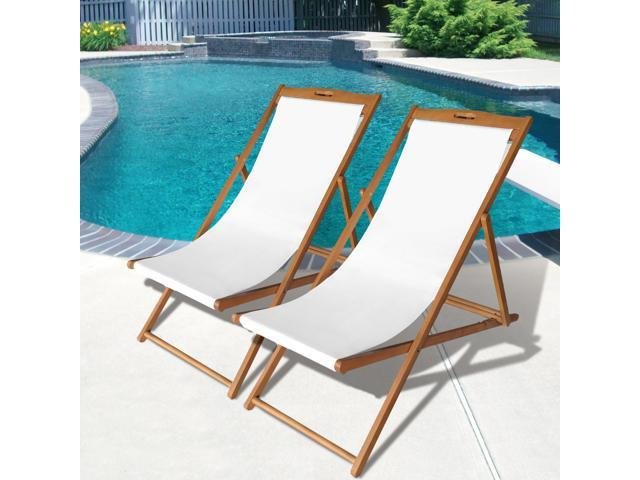 Enjoyable Beach Sling Chair Set Patio Lounge Chair Outdoor Reclining Beach Chair Wooden Folding Adjustable Frame Solid Eucalyptus Wood With White Polyester Caraccident5 Cool Chair Designs And Ideas Caraccident5Info
