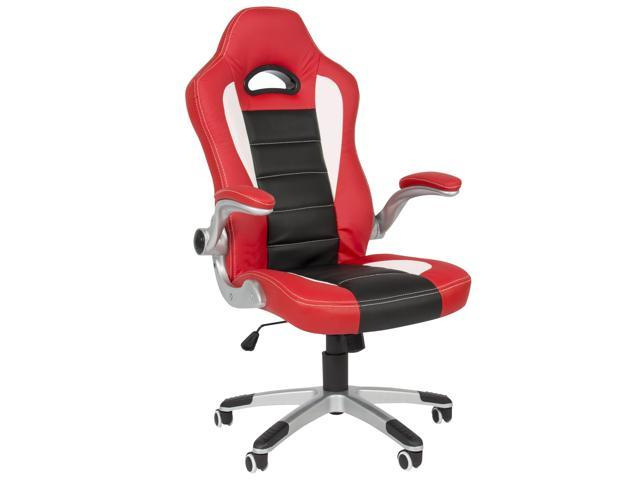 Executive Office Chair Pu Leather Racing Style Bucket Desk Seat Red