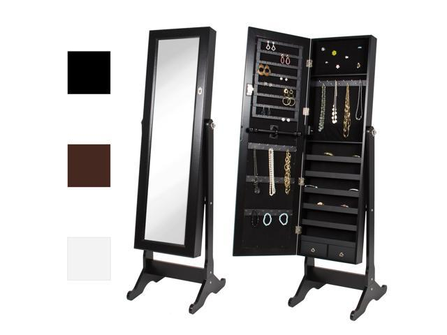 Best Choice Products Mirrored Jewelry Cabinet Armoire W/ Stand Rings,  Necklaces, Bracelets