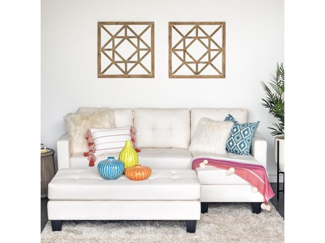 Best Choice Products 3-Seat L-Shape Tufted Faux Leather Sectional Sofa  Couch Set w/ Chaise Lounge, Ottoman Bench - White - Newegg.com