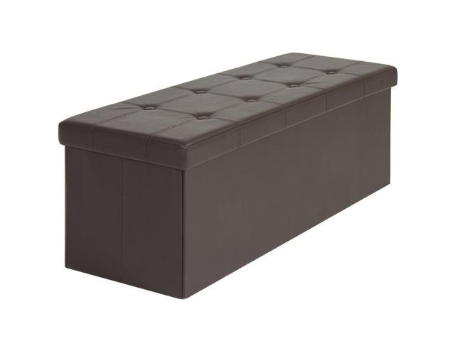 Swell Best Choice Products Faux Leather Space Saving Folding Storage Ottoman Stool Seat Bench W Velcro Divider Brown Ibusinesslaw Wood Chair Design Ideas Ibusinesslaworg