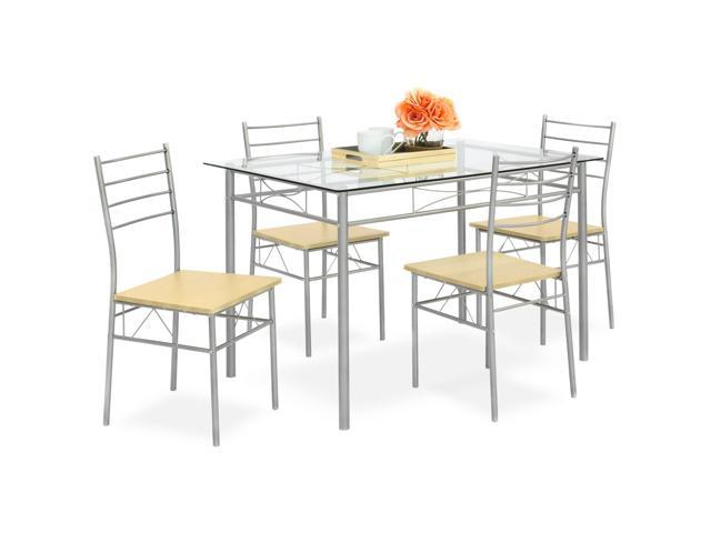 Super Best Choice Products 5 Piece Glass Top Dining Table Set For Kitchen Dining Room W 4 Chairs Steel Frame Silver Newegg Com Uwap Interior Chair Design Uwaporg
