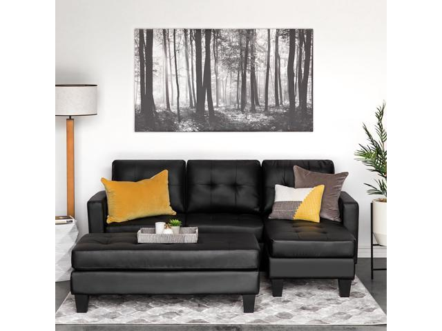 Surprising Best Choice Products 3 Seat L Shape Tufted Faux Leather Sectional Sofa Couch Set W Chaise Lounge Ottoman Bench Black Newegg Com Uwap Interior Chair Design Uwaporg
