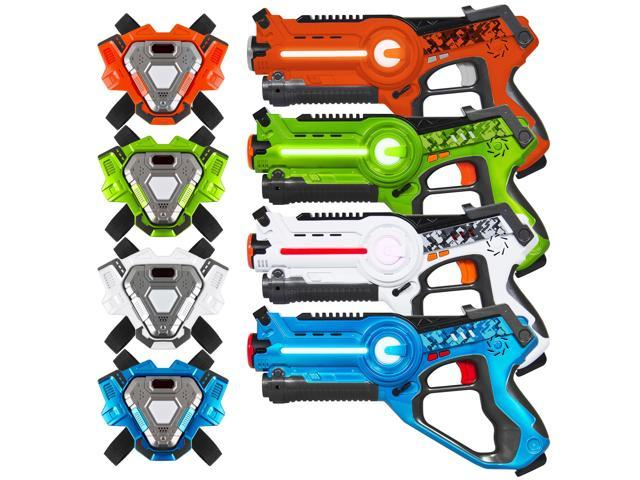 Best Choice Products Set of 4 Infrared Laser Tag Blasters for Kids & Adults  w/ Vests, Multiplayer Mode - Newegg com
