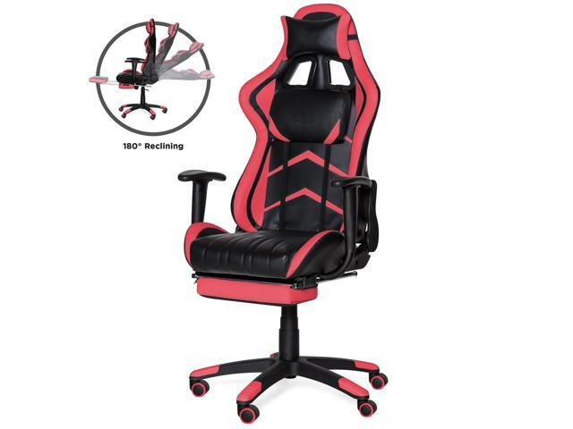 Excellent Best Choice Products Ergonomic Swivel Reclining Office Racing Gaming Chair W Footrest Lumbar Support Pink Newegg Com Machost Co Dining Chair Design Ideas Machostcouk