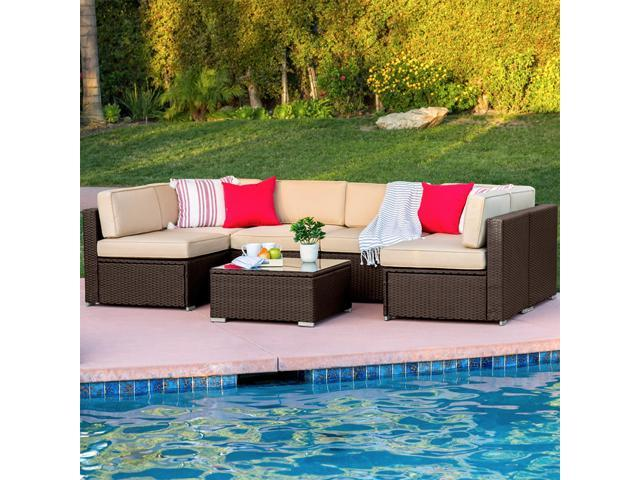 Marvelous Best Choice Products 7Pc Outdoor Patio Garden Furniture Wicker Rattan Sofa Set Sectional Brown Newegg Com Ibusinesslaw Wood Chair Design Ideas Ibusinesslaworg