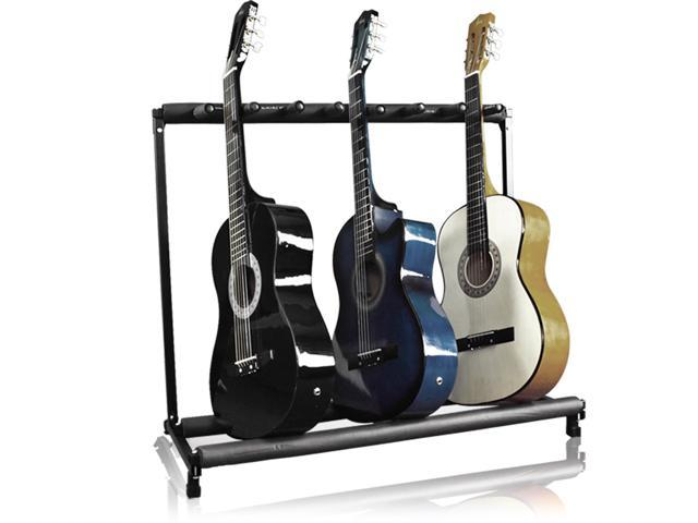 Best Choice Products 7-Guitar Folding Storage Stand Rack for Acoustic, Bass, Electric Guitars w/ Padded-Foam Rails