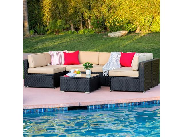 Best Choice Products 7-Piece Modular Outdoor Patio Furniture Set, Wicker  Sectional Sofas w/ Seat Clips, Cover - Black - Newegg.com
