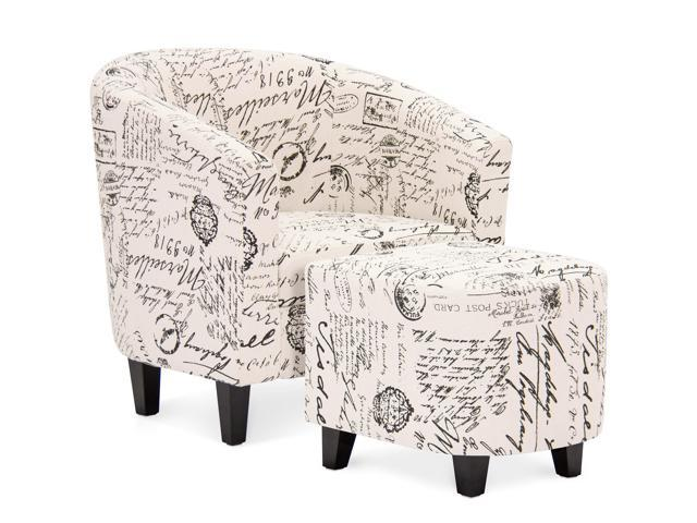 Tremendous Best Choice Products Modern Contemporary Upholstered Barrel Accent Chair W Ottoman Wood Legs White French Print Newegg Com Inzonedesignstudio Interior Chair Design Inzonedesignstudiocom