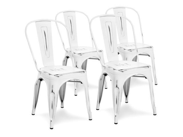 Swell Best Choice Products Set Of 4 Distressed Industrial Metal Dining Side Chairs White Uwap Interior Chair Design Uwaporg