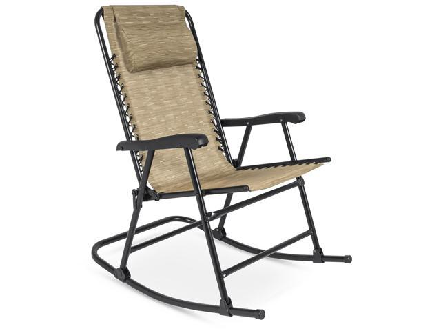 Tremendous Best Choice Products Foldable Zero Gravity Rocking Patio Recliner Chair Beige Ocoug Best Dining Table And Chair Ideas Images Ocougorg