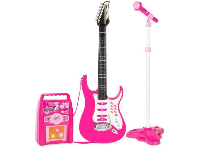 Best Choice Products Kids Electric Musical Guitar Toy Play Set w/ 6 Demo  Songs, Whammy Bar, Microphone, Amp, AUX - Pink - Newegg com