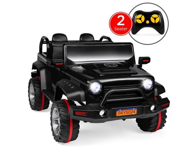 Best Choice Products 12V 2.2MPH Kids 2-Seater Ride On Truck w/ Parent Control, Headlights, MP3 Player - Black