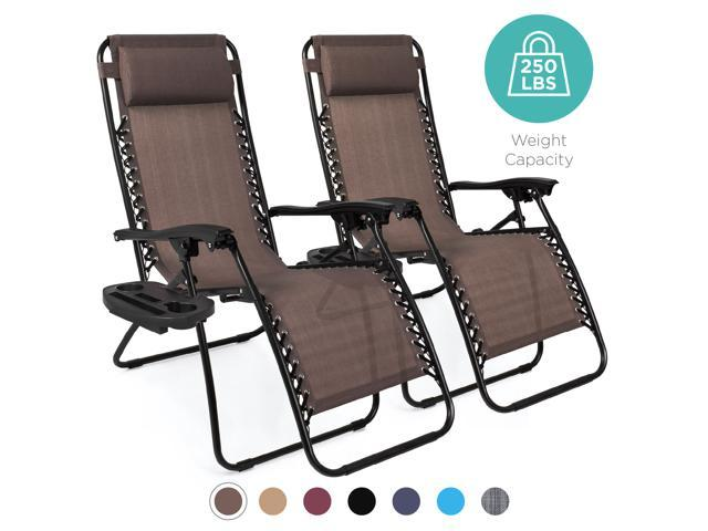 Best Choice Products Set of 2 Adjustable Zero Gravity Lounge Chair Recliners for Patio, Pool w Cup Holders Brown