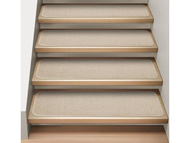 Set of 12 Attachable Indoor Carpet Stair Treads - Ivory Cream - 8 In ...