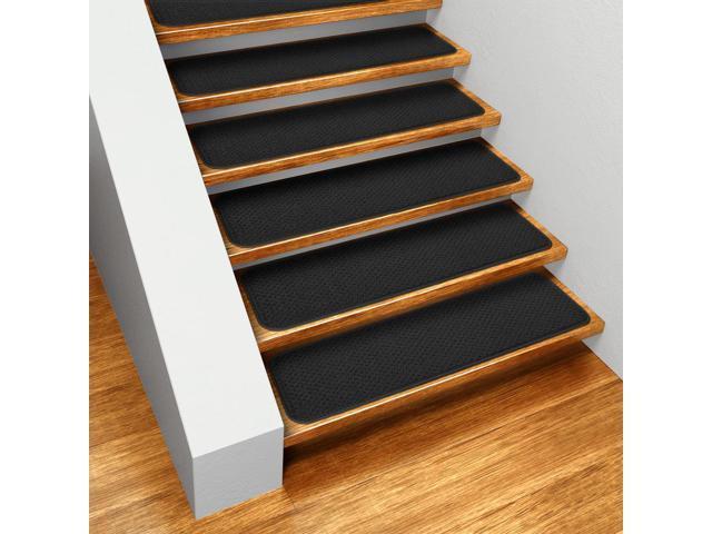 Set Of 15 Skid Resistant Carpet Stair Treads Black 8 In X 23 5 Newegg