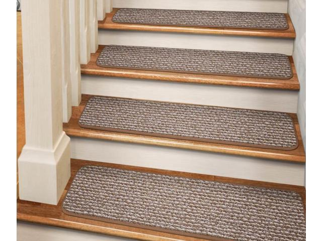 Set Of 15 Tape Down Carpet Stair Treads Praline Brown 8 In X 30 In