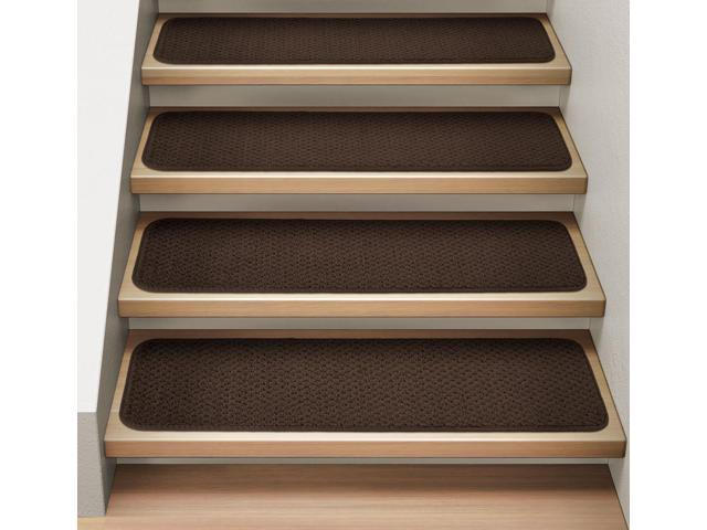 Set Of 15 Attachable Indoor Carpet Stair Treads Chocolate Brown 8 In X