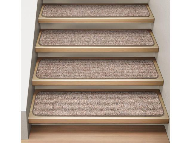 Set Of 12 Attachable Indoor Carpet Stair Treads Pebble Beige 8 In X 27 In