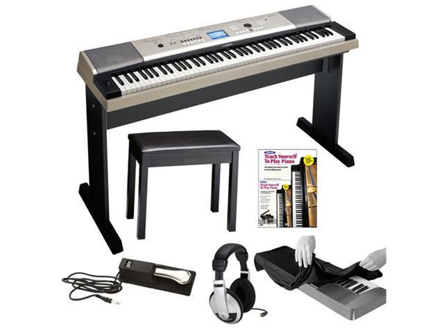 Yamaha YPG-535 88 Key Piano + Yamaha Padded Piano Bench, Piano Style  Sustain Pedal, Stereo Headphones, Keyboard Dust Cover and Alfred's Teach  Yourself
