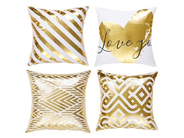 Yellow Gold Throw Pillows.Bronzing Home Pillowcase 18x18 Decorative Cushion Pillow Cover Couch Gold Throw Pillow Covers Set Of 4 11