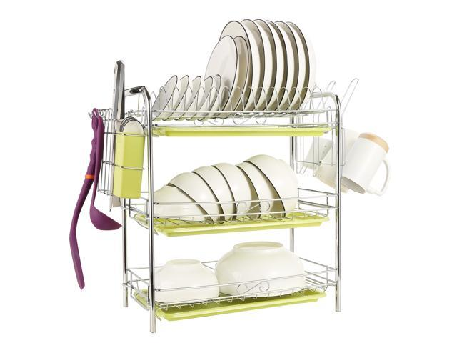 3-Tier Dish Drying Rack Kitchen Storage Cup Tray Cutlery Dish Drainer  Holder Organizer with Drain Board 22.04 x 9.05 x 18.50 IN