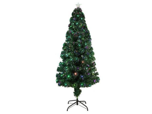 Homegear Artificial Pre-Lit Fiber Optic Christmas Tree 6ft with 235 Color Lights