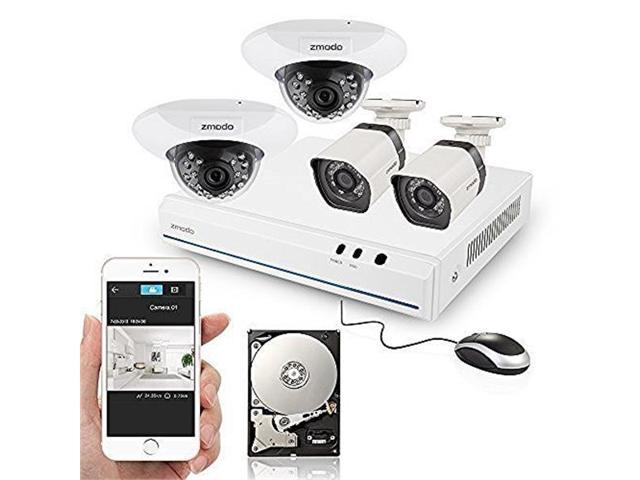 Zmodo 8CH HDMI NVR 2 Bullet Outdoor+2 Dome Indoor 720P HD PoE IP Security  Camera System with 500GB Hard Drive - Newegg com