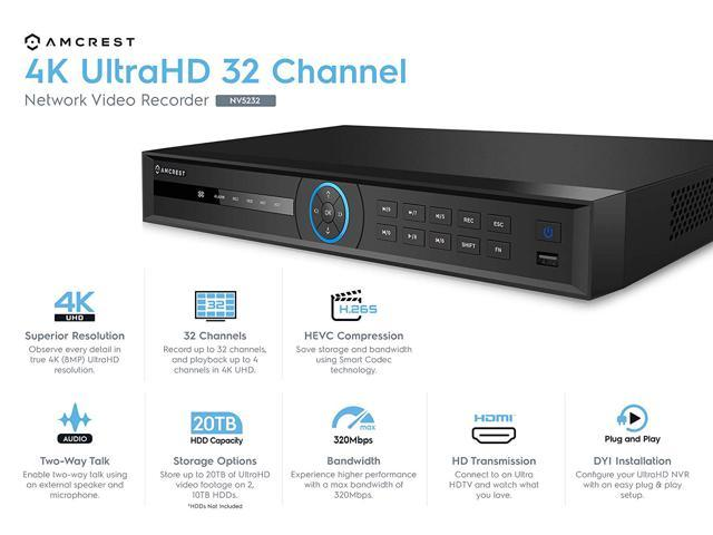 Amcrest NV5216 16CH Channel 4K HDMI Network Video Recorder NVR IP Camera No HDD