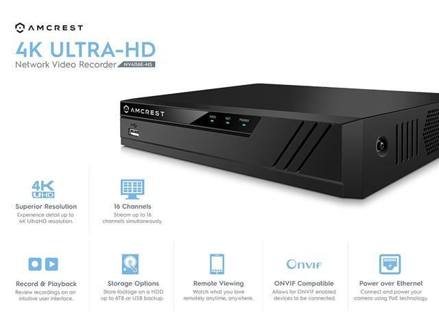 Amcrest NV4116E PoE NVR (16CH 720p/1080p/3MP/4MP/5MP/6MP/8MP/4K) Network  Video Recorder - Supports up to 16 x 8-Megapixel IP Cameras, Supports up to