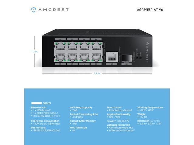 Amcrest Gigabit Uplink 9-Port Poe+ Ethernet Switch with