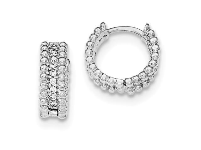 e6d88fbe28871 925 Sterling Silver Rhodium-plated Polished CZ Children's Hinged Hoop  Earrings - Newegg.com