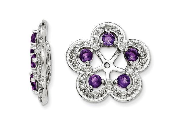 Jewelry Birthstone Earrings Sterling Silver Rhodium Amethyst Earring Jacket