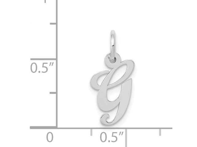 14k White Gold Small Fancy Script Initial P Charm 0.6in