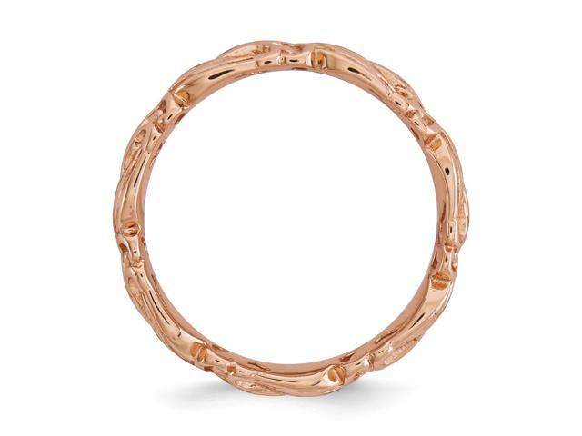 7daebc5f68faf Sterling Silver w/ 14k Rose Gold-plated Stackable Expressions Pink-plated  Carved Band - Newegg.com