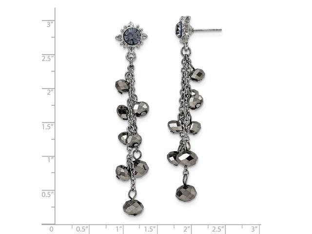 silvertone hematite  u0026 black crystal post dangle earrings