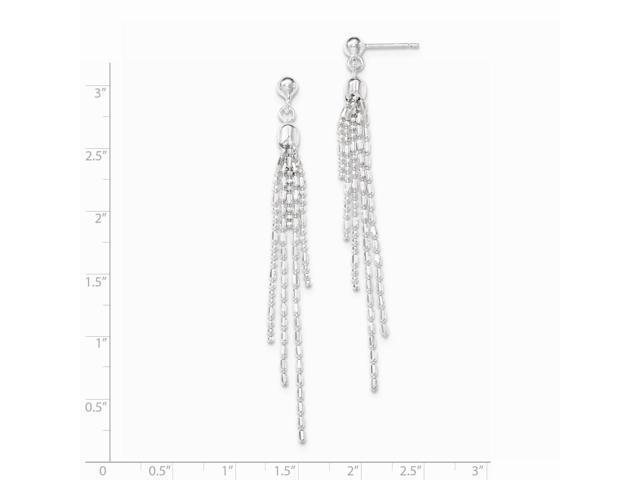 sterling silver fancy multi-strand post dangle earrings  2 8in long
