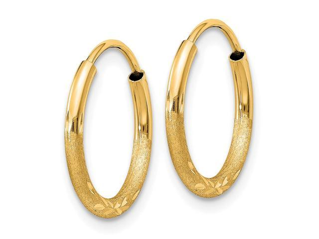 14k Yellow Gold 1 5mm Satin Diamond Cut Endless Hoop Earrings 14mm Diameter Newegg