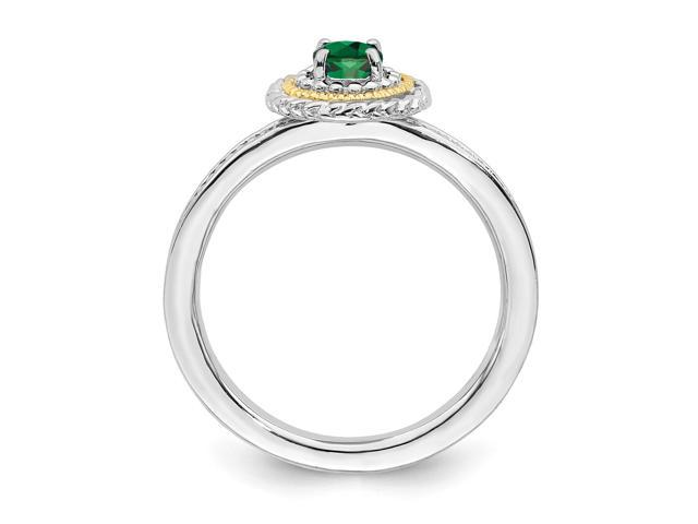b832e1d0b12fa Sterling Silver & 14k Gold-plated Stackable Expressions w/ Rhodium Created  Emerald Ring - Newegg.com
