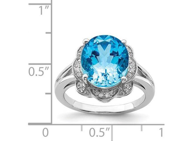 a75b48a76bfe9 Sterling Silver Rhodium Plated Oval Swiss Blue Topaz & Diamond Ring -  Newegg.com